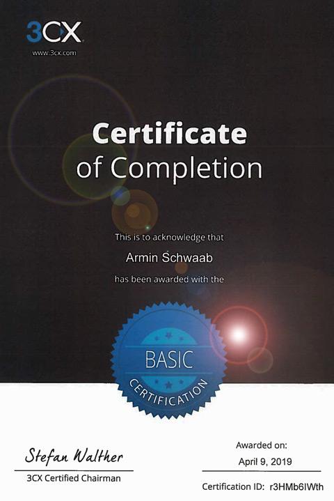 Das Bild zeigt ein 3CX Zertifikat ausgestellt auf Herrn Armin Schwaab.