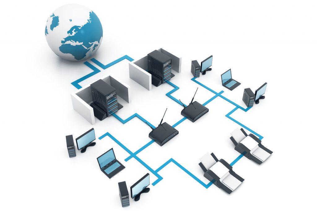Das Bild zeigt ein Computernetzwerk, Internet-Konzept, Netzwerkdiagramm, 3D-Illustration.