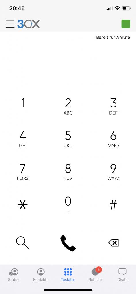Das Bild zeigt eine Anruftastatur auf dem Handy auf der 3CX App