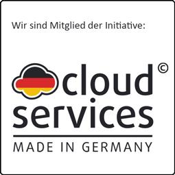 """Das ist ein Bild """" Wir sind Mitglieder der Initiative Cloud Services Made in Germany"""""""