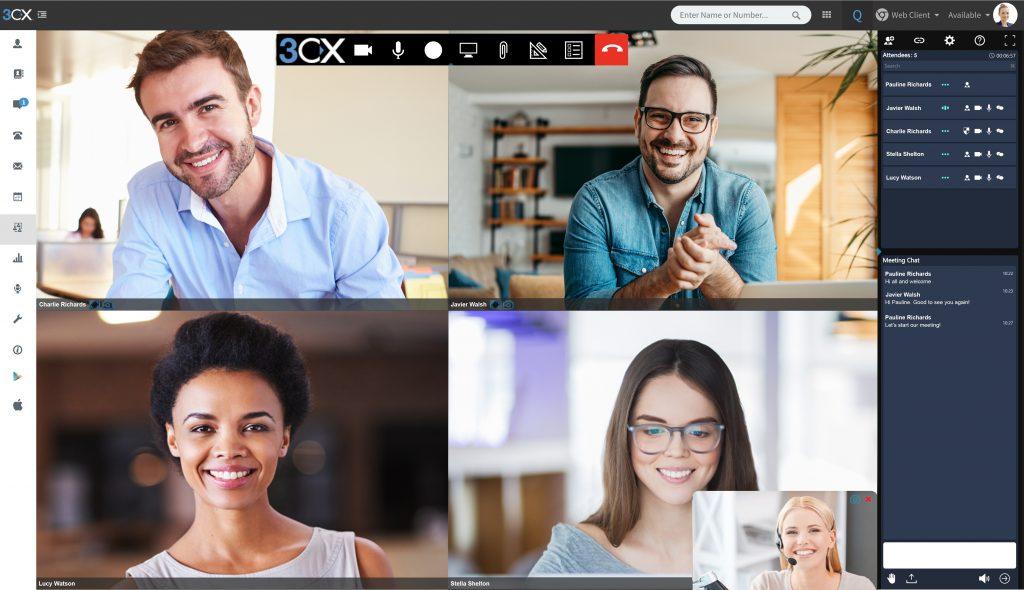 Das Bild zeigt eine Gruppe beim Webmeeting.