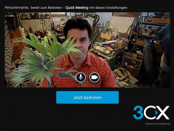 Das Bild zeigt eine Person bei einem Video Chat in einer chaotischen Umgebung.