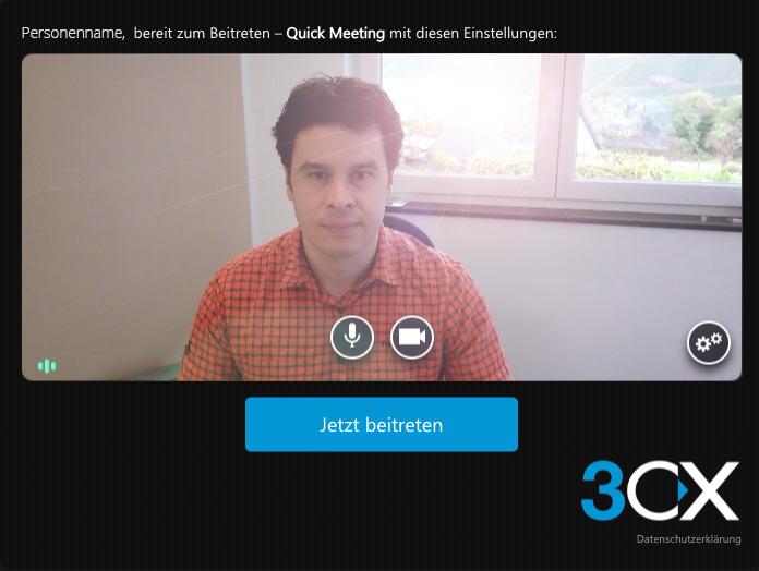 Das Bild zeigt eine Person beim Videochat mit Gegenlicht.