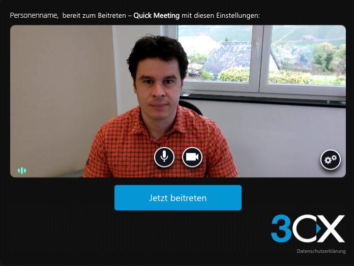 Das Bild zeigt ein Testbild mit einer Person beim Videochat.